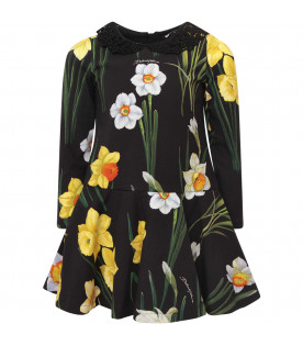 DOLCE & GABBANA KIDS Black girl dress with colorful narcissus