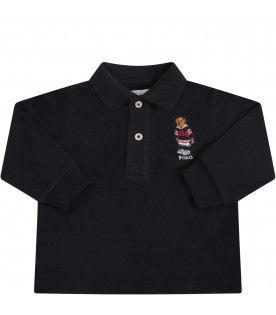 RALPH LAUREN KIDS Blue polo T-shirt with colorful bear