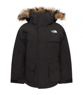 THE NORTH FACE KIDS Black boy parka with faux fur trimming