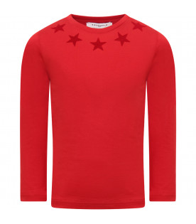 GIVENCHY KIDS T-shirt per  rossa con stelle rosse