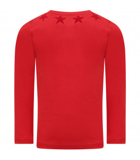 GIVENCHY KIDS Red  T-shirt with red stars