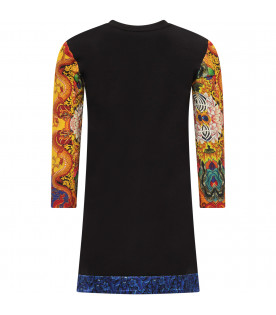 ROBERTO CAVALLI KIDS Black girl dress with colorful print