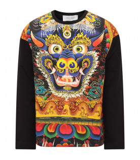 ROBERTO CAVALLI KIDS Black girl T-shirt with colorful Chinese dragon
