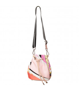 EMILIO PUCCI JUNIOR Pink bag with color ful iconic print