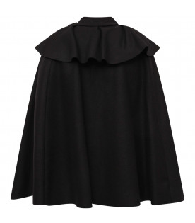 LANVIN PETITE Black girl cape with ruffle