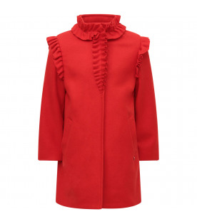LANVIN PETITE Red girl overcoat with metallic logo on the front