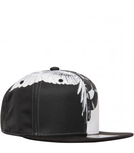 "MARCELO BURLON KIDS Black and white ""Wing"" hat"