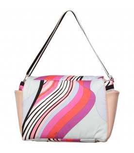 EMILIO PUCCI JUNIOR Borsa mamma multicolor con iconica stampa colorata