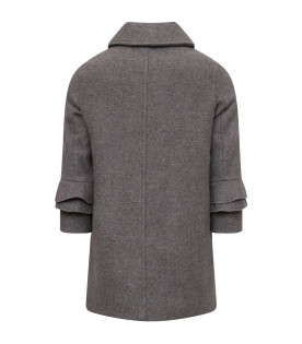 SIMONETTA Grey girl overcoat with metallic logo