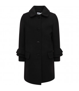 SIMONETTA Black girl overcoat with metallic logo