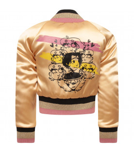 IL MONDO DI SOFIA Gold girl bomber with colorful patches
