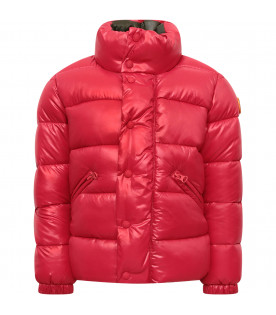 SAVE THE DUCK KIDS Red boy jacket with colorful Donald