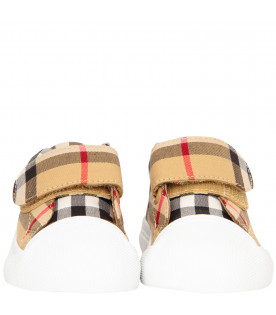 BURBERRY KIDS White shoes with vintage checked sole