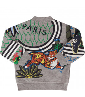 KENZO KIDS Grey sweatshirt with colorful tigers and red logo