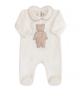 LITTLE BEAR White babygrow with beige iconic bear