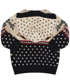 RALPH LAUREN KIDS Ivory and blue cardigan with colorful iconic bears