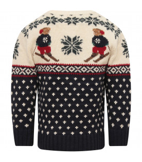 RALPH LAUREN KIDS Ivory and blue boy sweater with colorful iconic bears