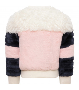BILLIEBLUSH Pink, blue and white girl bomber jacket