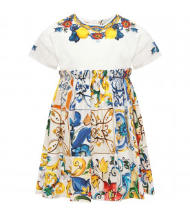 DOLCE & GABBANA KIDS Colorful girl dress with iconic maioliche