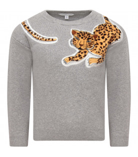 LITTLE MARC JACOBS Grey girl sweater with spotted patch
