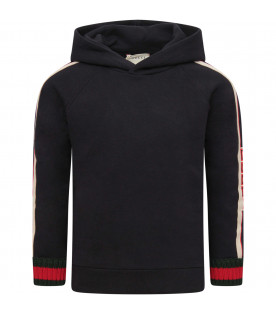 GUCCI KIDS Blue sweatshirt with green and red web detail