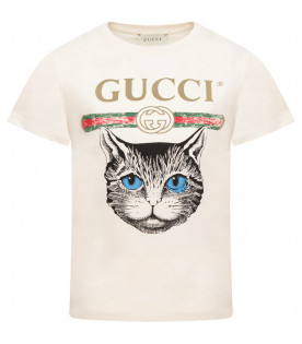 GUCCI KIDS Ivory T-shirt with vintage logo