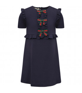 GUCCI KIDS Blue girl dress with Web detail