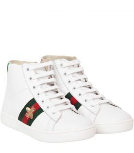 White leather high-top sneaker with bee