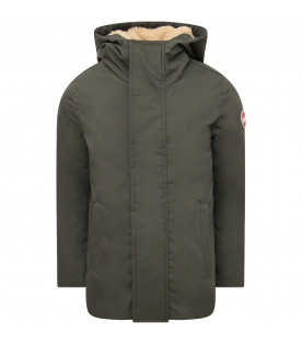 COLMAR ORIGINALS KIDS Green parka with iconic rubberd logo