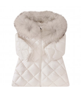 MONCLER KIDS White girl jacket with iconic logo