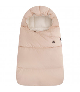 MONCLER KIDS Pink sleepink bag with logo