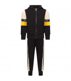 MONCLER KIDS Black boy tracksuit with white logo