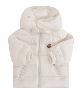 MONCLER KIDS White jacket with iconic logo