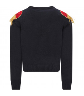 Blue girl sweater with red logo