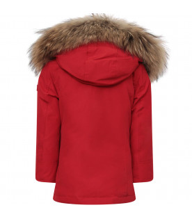 WOOLRICH KIDS Red girl parka jacket