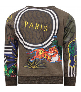 KENZO KIDS Khaki boy sweatshirt with tigers