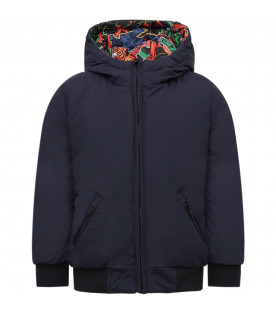 KENZO KIDS Blue and multicolor reversible boy padded jacket