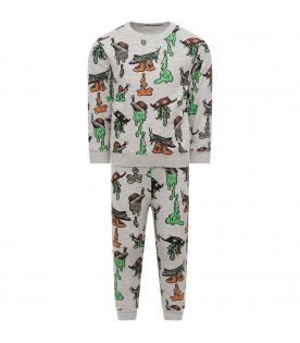 STELLA MCCARTNEY KIDS Grey tracksuit with colorful snails and cockroaches