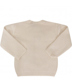 STELLA MCCARTNEY KIDS Ivory sweater with grey and yellow striped bee