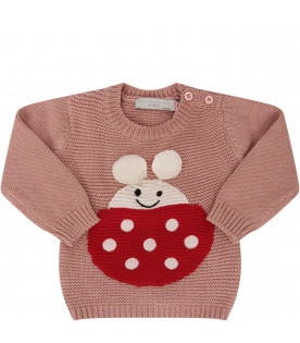 STELLA MCCARTNEY KIDS Pink sweater with red ladybug with white polka-dots