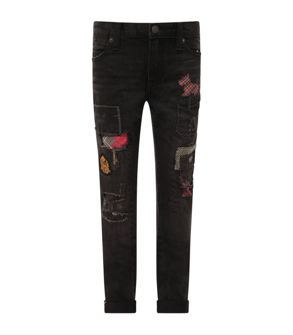 RALPH LAUREN KIDS Black girl jeans with patch
