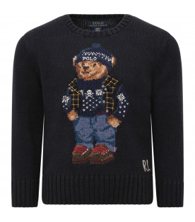 RALPH LAUREN KIDS Blue boy sweater with iconic bear