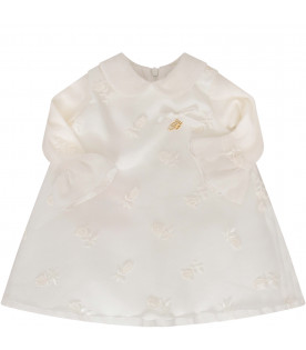 BLUMARINE BABY Ivory dress with gold metallic logo