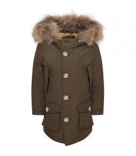 WOOLRICH KIDS Military green boy parka with iconic logo
