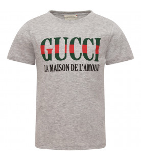 GUCCI KIDS Grey T-shirt with green and red logo