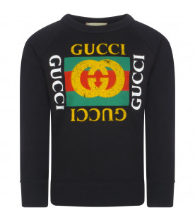"GUCCI KIDS Black ""Fake"" sweatshirt"
