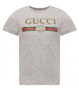 GUCCI KIDS Grey T-shirt with vintage logo