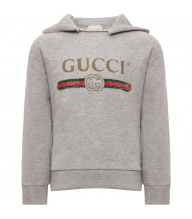 GUCCI KIDS Grey sweatshirt with vintage logo