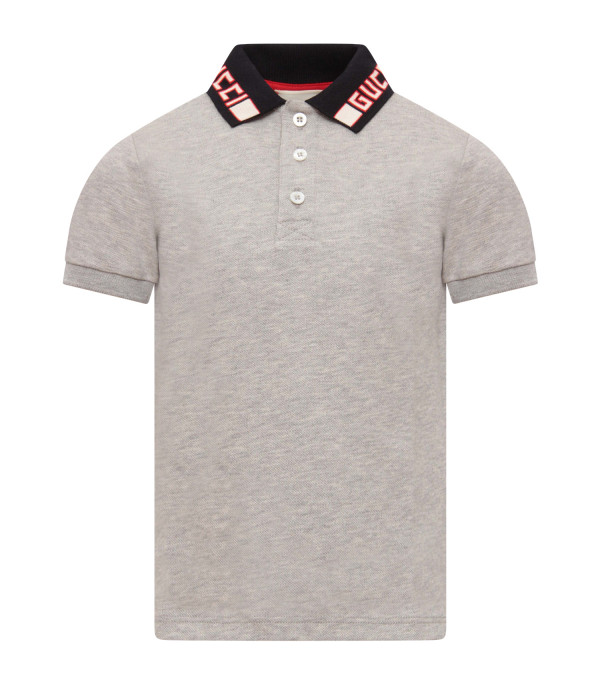 GUCCI KIDS Grey boy polo shirt with ivory and red logo