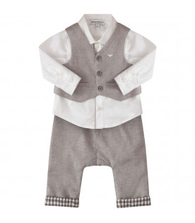 ARMANI JUNIOR   Grey and white suti with iconic logo